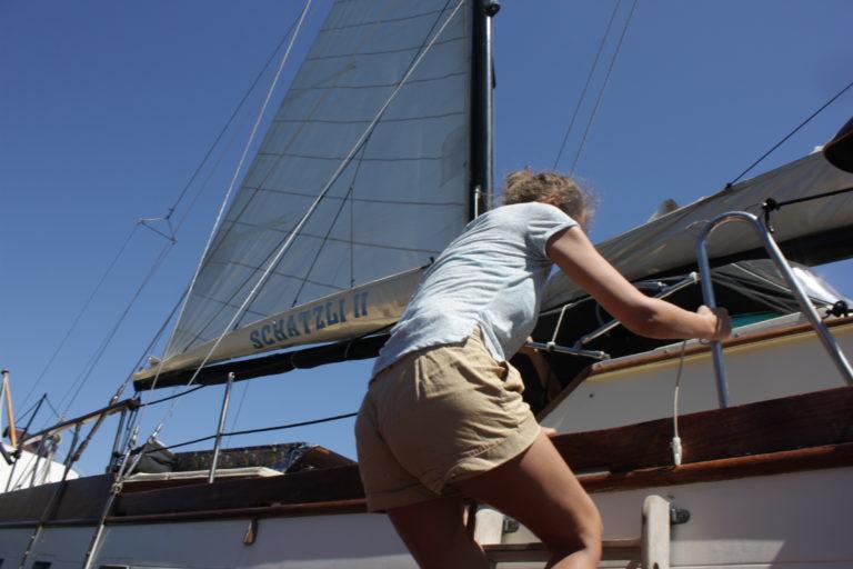 comoda scaletta a bordo del veliero schatzli II
